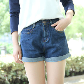 Plus Size High Waist Denim Shorts For Women Casual Blue Cotton Short Jeans 2016 Summer Design Femme Short Trousers 2 Colors