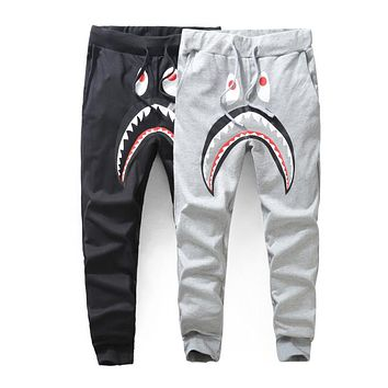 BAPE 2018 new fashion personality casual wild shark thin section feet long guard pants F-A-KSFZ
