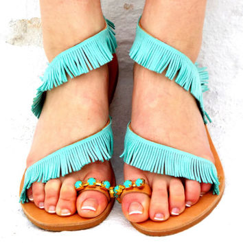 "Wedding Turquoise Leather Sandals, bridsmaid shoes, Greek Sandals, ""Mykonos"" Traditional Sandals, wedding shoes, barefoot sandals,"