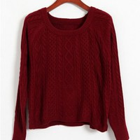 Long Sleeves Woolen Yarn Pullover