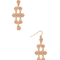 FOREVER 21 Floral Chandelier Earrings Gold/Peach One