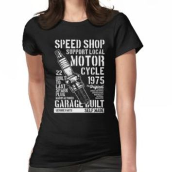 'MOTORCYCLE SHOP' T-Shirt by Super3