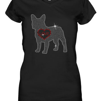 Frenchie Love Flat Rhinestone Shirt