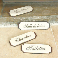 Set Of Four French Room Plaques