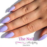 Light Purple Fake Nails - Glossy False Nails - Available As Stiletto Nails, Oval Nails, Square Nails - Handpainted Nail Set -Press on Nails