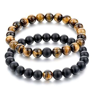 Long Way 2 pcs Black Matte Agate amp Tiger Eye Gem Beads 8mm Double Matching Distance Bracelets 71quot