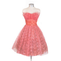 Vintage 1950's Dress - The Sweetheart Strapless Lace Prom Dress in Bubblegum Pink w/ Petal Bust- sz XS