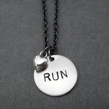 RUN LOVE Necklace - Nickel pendants and pewter charm priced with Gunmetal Chain