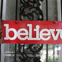 Believe Christmas Rustic Country Chic Sign Door Hanger Wall Decoration