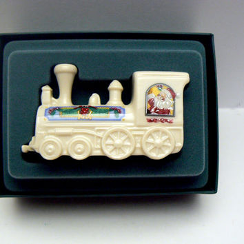 Lenox Holiday Village Collection Santa Claus Conductor Express Locomotive Train Engine Porcelain Figurine 1992