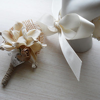Burlap & Sola Flower Boutonniere, Made to Order.