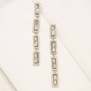 Drop Gem Earrings in Topaz Glass