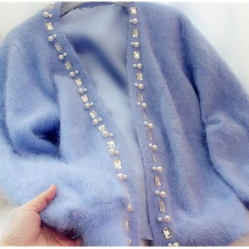 Women Cardigans Sweater Beaded rhinestone pearl Female Mohair Knitted Cardigans Blue Autumn Cardigans Sweater For Women