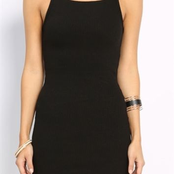 Cut Out Detail Ribbed Mini Dress