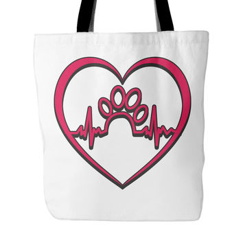 Dog Rescue Red Paw Print Tote Bag