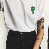 Lil Cactus Graphic Short Sleeve Tee - brandy melville inspired