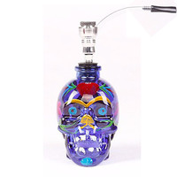 Water Pipe - Fancy Skull Style - Blue Glass