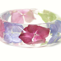 Pink Bracelet- Pink Bangle- Pink Flower Jewelry- Resin Jewelry- Flower Bangle- Green Leaf Bracelet