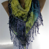 Elegant Purple Multicolor Scarf - Cowl with Lace Edge -Fashion accessories- gift for her-scarves