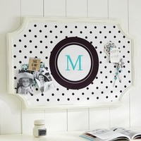 Scallop Framed Monogram Pinboard - Reverse Black Dottie