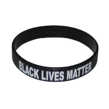 "White Black ""Black Lives Matter ""thin Blue Line Dult Size Wristband Silicone Bracelets High Quality"