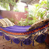Violet Hammock, Hand Woven Natural Cotton with Special Fringe