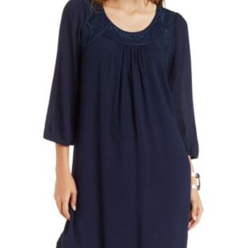 Navy Blue Skies Are Blue Embroidered Shift Dress by Charlotte Russe