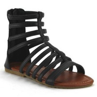 QQ Girls Mid Calf High Gladiator Caged Sandals Pipper-65 Black