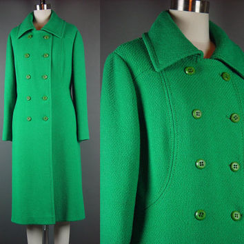 "60 Green Coat Vintage 1960s Wool Christmas Double Breasted Dress Winter Bromleigh XL B 42"" W 39"""