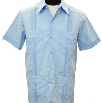 D'Accord Men's Short Sleeve Light Blue Guayabera Shirt