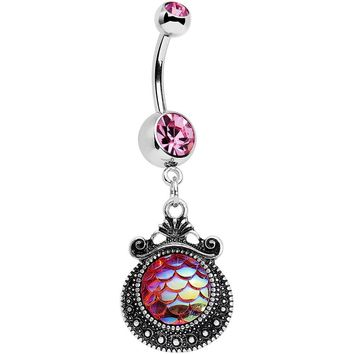 Pink Gem Iridescent Purple Mermaid Scales Dangle Belly Ring