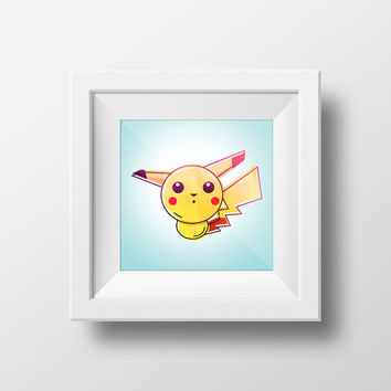Pikachu / Pokemon / Digital Art Print / Instant Download