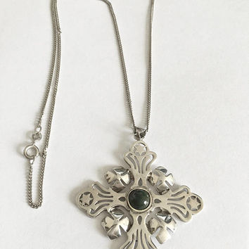 Sterling Silver Pendant Signed Israel, 925 with Center Green Gemstone on an Italian Sterling Silver 19.5 Inch Chain, Sterling Medallion