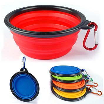 Silicone Fording Dog Feeding Bowl Collapsible Cats Water Dish Cat Portable Feeder Puppy Travel Bowls