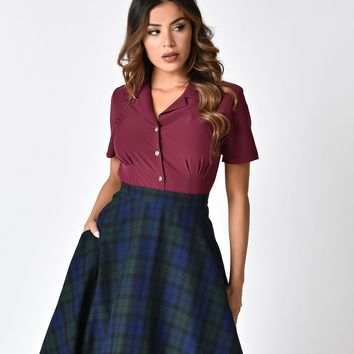 Banned Bordeaux Button Up Short Sleeve Skye Blouse