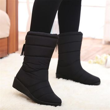 Quilted Outdoor Warm Fur Waterproof Tassel Down Snow Boots