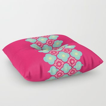 'Sugar Blossom' Pink Blue Yellow Floor Pillow by inspiredimages