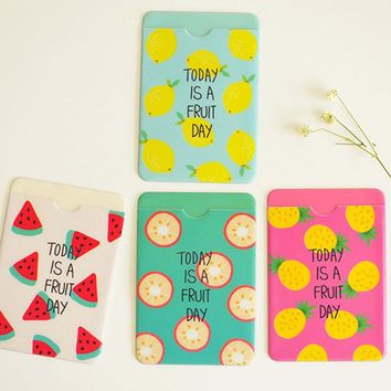 Fresh Fruit Double Layer Silicone Card Cover Bus Bank Id Card Case Holder