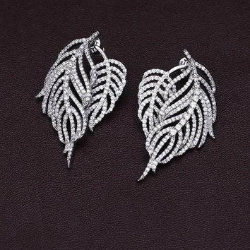 DCCKU1Q Pteris feather leaves full drill tassel sterling silver micro-studded earrings