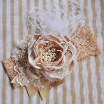 Vanilla Bean boutique headband - shabby chic - fancy headband - boutique headband - photo prop - wedding - newborn - baptism