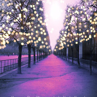 Paris Photography, Shimmering Trees, Dreamy Paris Tuileries, Purple Pink Sparkling Lights, Paris Trees Twinkle Lights 8x12