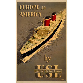Europe To America Travel Poster