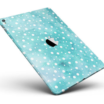 "Light Blue and White Watercolor Polka Dots Full Body Skin for the iPad Pro (12.9"" or 9.7"" available)"