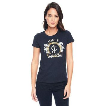 PEAP2Q Juicy Couture Palm Trees Graphic Tee T009 Women T-shirt Navy Blue