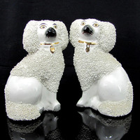 Vintage JAMES KENT STAFFORDSHIRE Dog Figurine Pair 2 Poodles Dogs Spaghetti Trim Figure