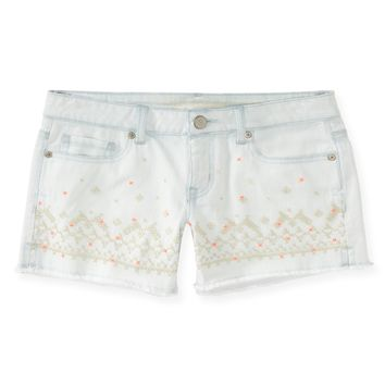 Cross-Stitch Embellished Light Wash Denim Midi Shorts