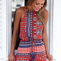 Red Halter Cutout Back Printed Romper
