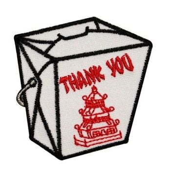 Chinese Food Takeout Container Thank You Embroidered Iron On Applique Patch FD