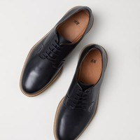 Leather Derby Shoes - Tawny brown - Men | H&M US