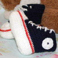 Baby bootys Hi Top sneakers Converse style basketball boy shoes Crochet baby booties crochetyknitsnbits navy white red handmade 3 to 6 month